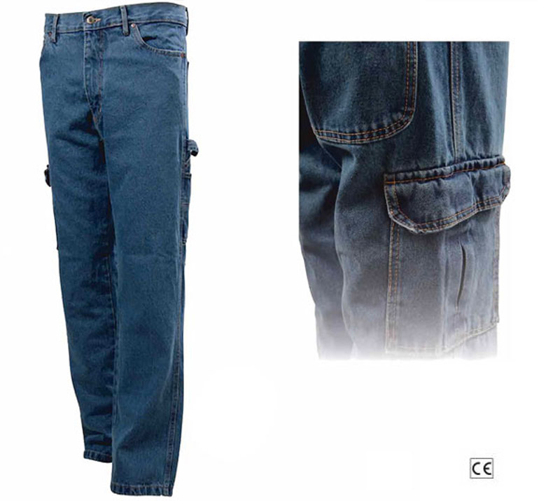 Pantalone Jeans Stone Wash Multitasche Blue-Tech 580
