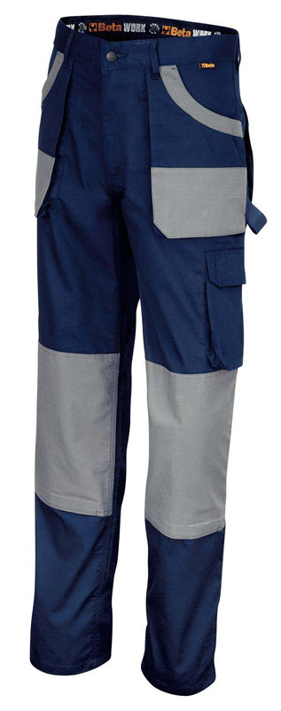 PANTALONI WORK BETA 7870 TUTTO COTONE TWILL BLUE-GREY